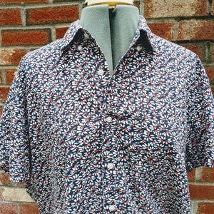 EUC  J. Crew Wm Lrg Button Up Shirt Blue Floral